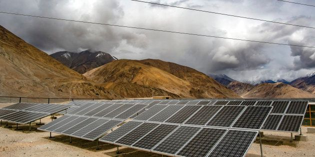Solar panels in Yarat village, Ladakh. The cold desert of Ladakh has been known as the roof of the world...