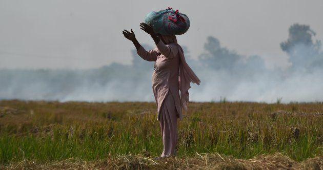 A woman looks on near burning straw stubble at a field in Barana village.