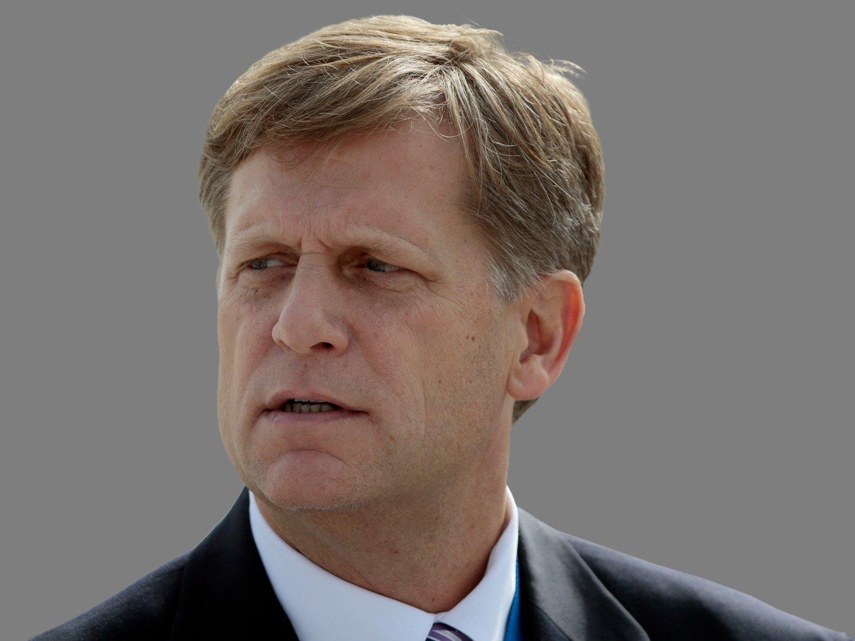 Michael McFaul headshot, former US Ambassador to Russia, graphic element on gray
