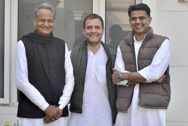 Rahul Gandhi with Ashok Gehlot and Sachin