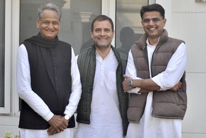 Rahul Gandhi with Ashok Gehlot and Sachin Pilot.
