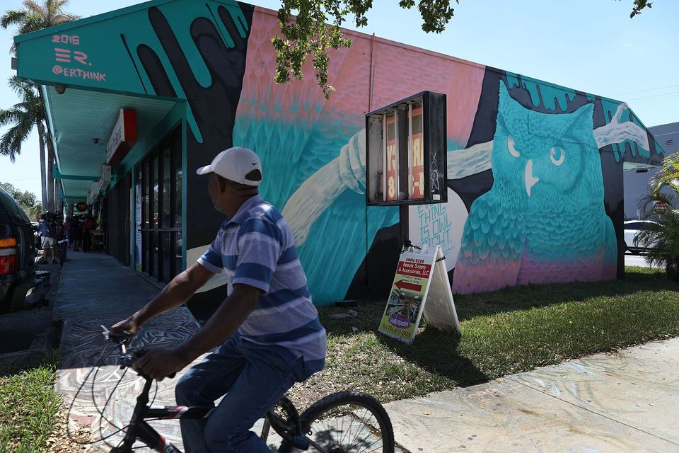 A strip mall in the Little Haiti neighborhood, Miami. Shop owners face displacement after they say the...