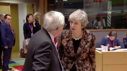 Watch: Theresa May And Jean-Claude Juncker Caught Arguing On