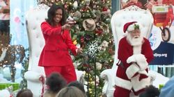 Michelle Obama Dances With Santa At Children's