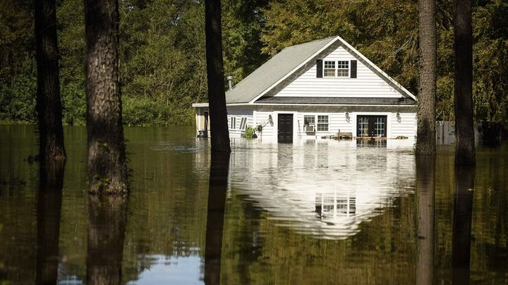 A North Carolina home is flooded by Hurricane Florence. The storm dumped more than 30 inches of rain on the state.