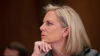 Homeland Security Secretary Kirstjen Nielsen testifies during a hearing of the Senate Committee on Homeland Security & Governmental Affairs, on Capitol Hill, Wednesday, Oct. 10, 2018 in Washington. (AP Photo/Alex Brandon)