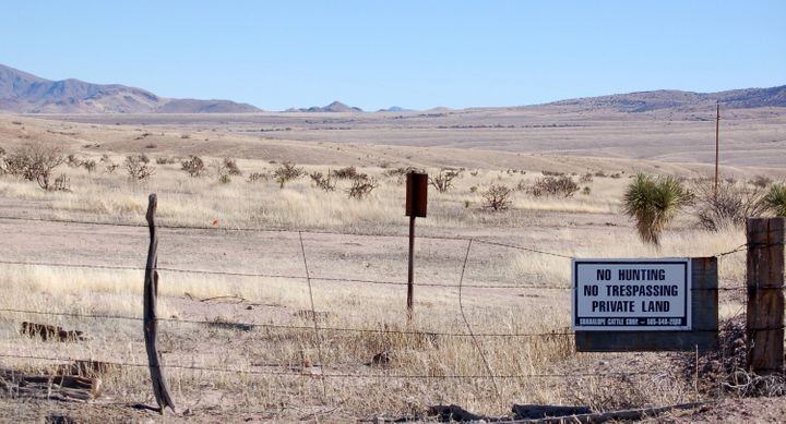 This Jan. 20, 2012, file photo, near Cloverdale in New Mexico's Bootheel region, shows a gated part of the Diamond A Ranch an