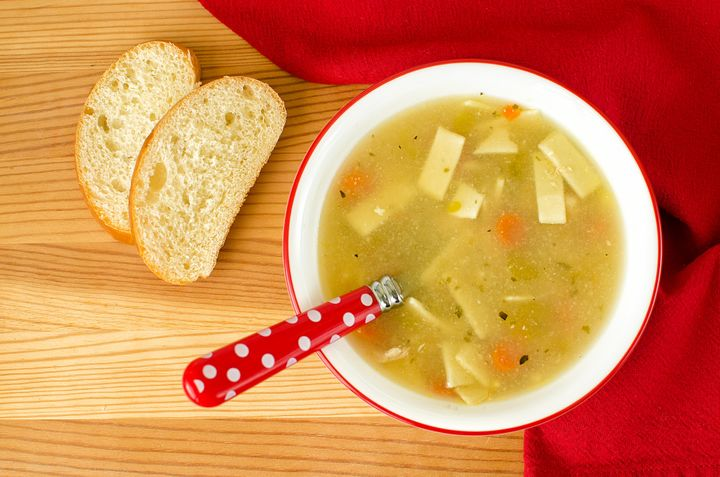 Soup's warm liquid helps speed up the movement of mucus through the nose.