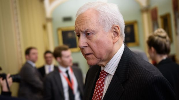 Senator Orrin Hatch, R-UT, speaks to reporters at the US Capitol in Washington, DC on December 13, 2018. (Photo by MANDEL NGAN / AFP)        (Photo credit should read MANDEL NGAN/AFP/Getty Images)