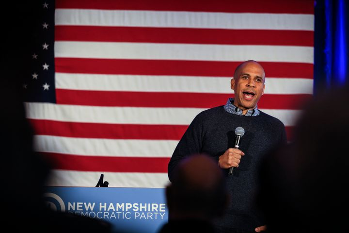 Sen. Cory Booker, D-N.J., speaks at a post-midterm election victory celebration in Manchester, N.H.