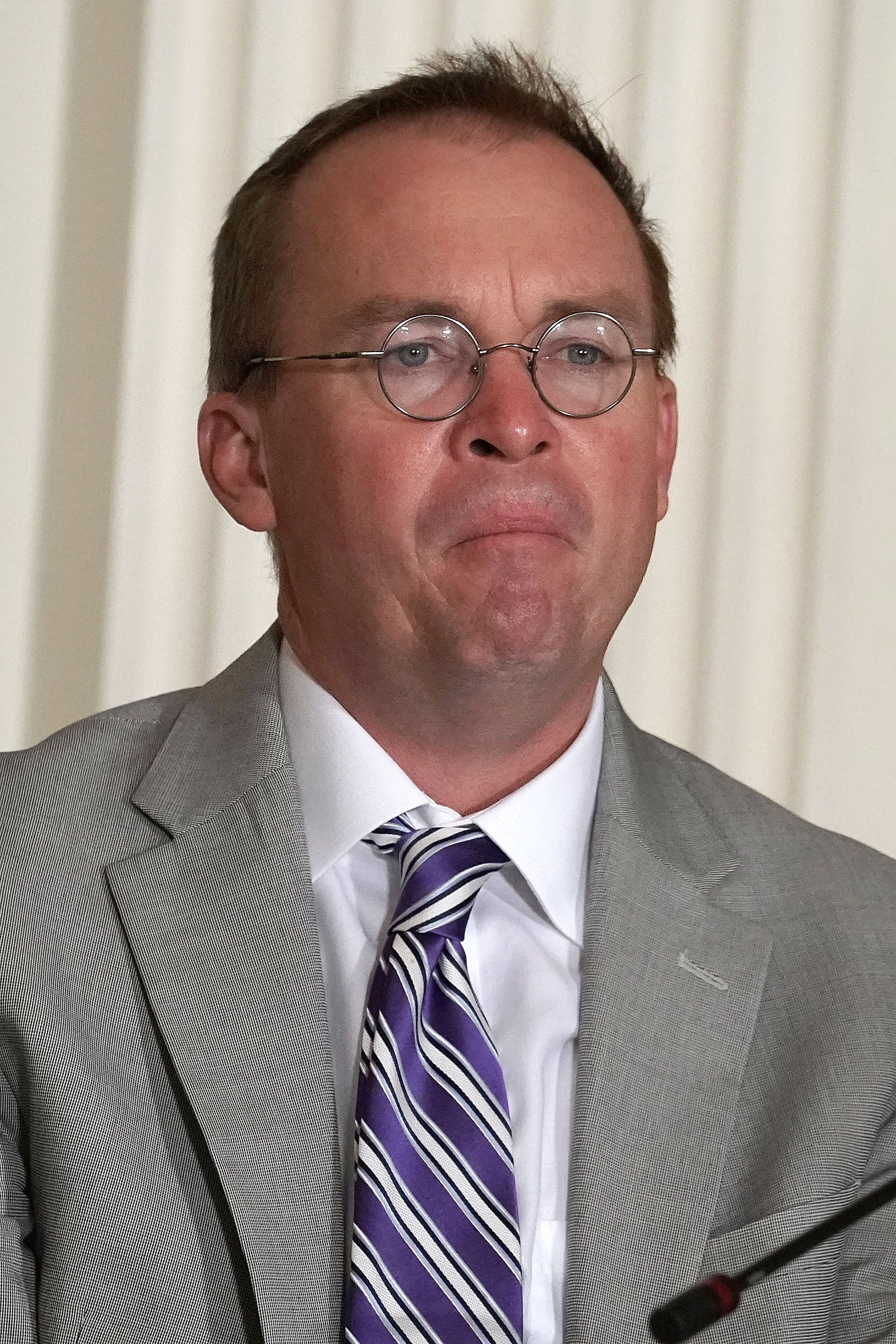 WASHINGTON, DC - JUNE 18:  Director of the Office of Management and Budget Mick Mulvaney listens during a meeting of the National Space Council at the East Room of the White House June 18, 2018 in Washington, DC. President Donald Trump signed an executive order to establish the Space Force, an independent and co-equal military branch, as the sixth branch of the U.S. armed forces.  (Photo by Alex Wong/Getty Images)