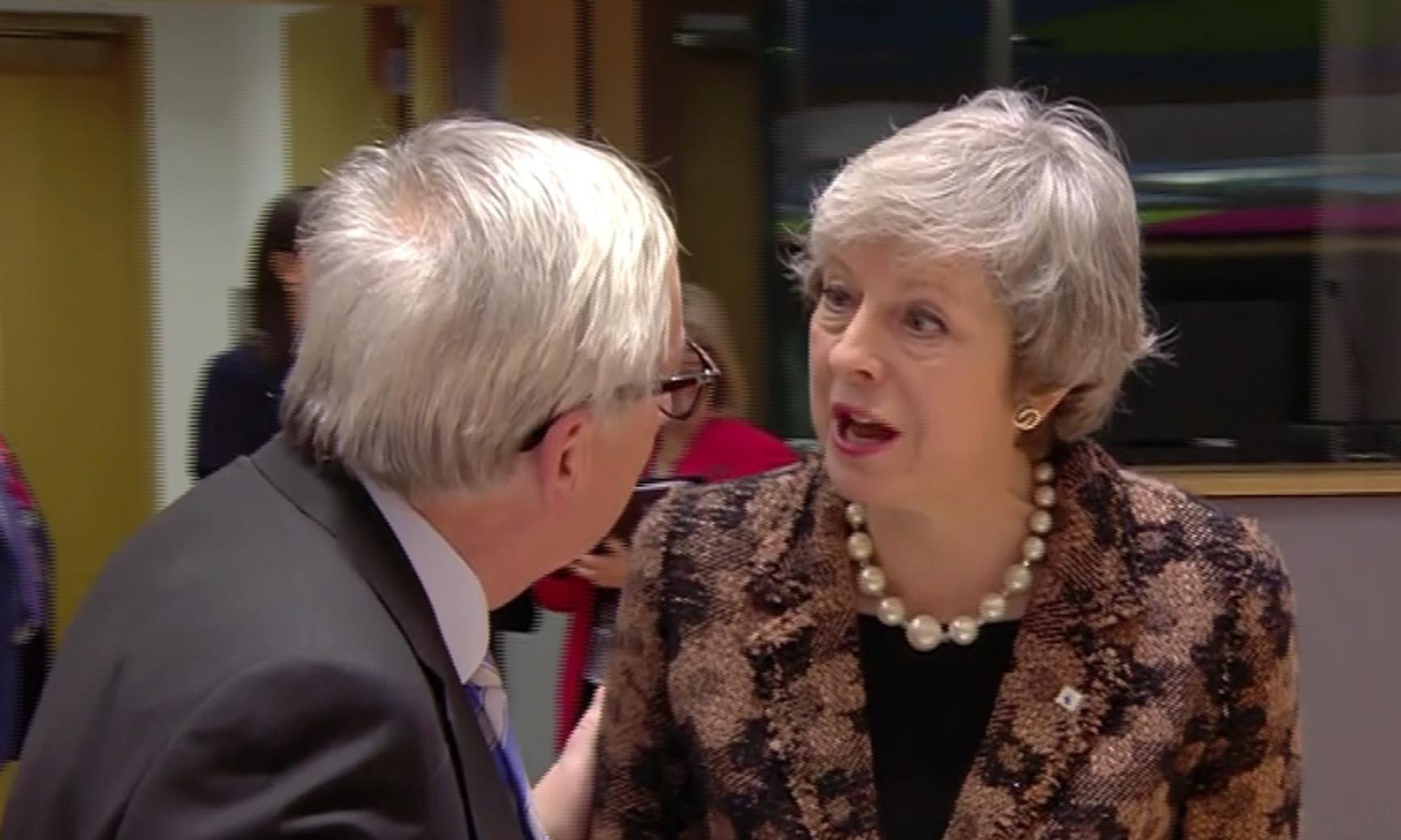 테레사 메이 영국 총리와 융커 EU 집행위원장이 격한 논쟁을 벌였다