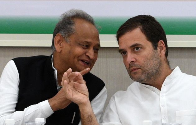 Rajasthan Chief Minister designate Ashok Gehlot (L) and Congress President Rahul Gandhi (R) in a file...