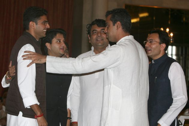 (From Left) Rajasthan Deputy Chief Minister designate Sachin Pilot, Jyotiraditya Scindia (Second from...
