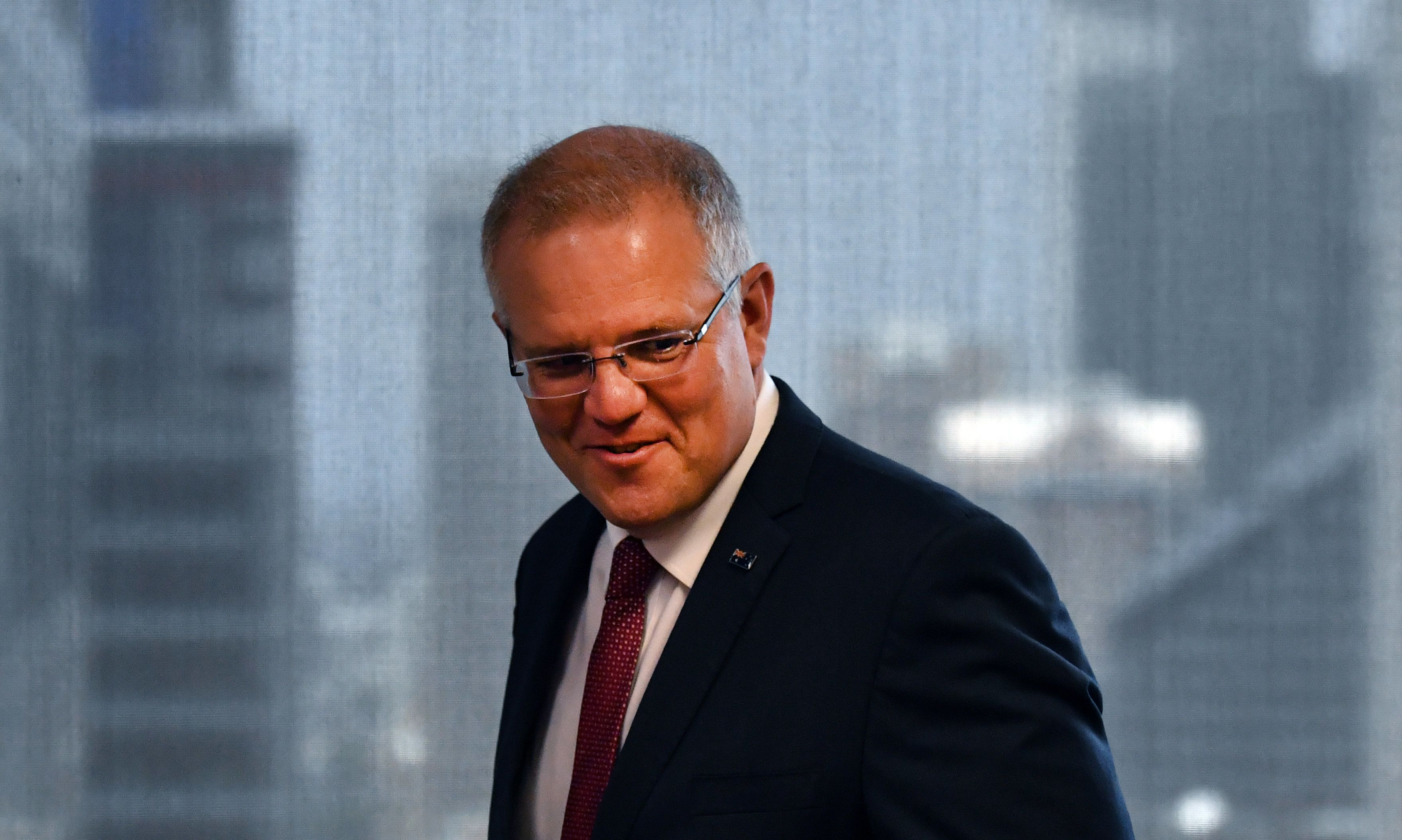 SYDNEY, AUSTRALIA - DECEMBER 15: Australian Prime Minister Scott Morrison arrives to speak at the Australian Institute on December 15, 2018 in Sydney, Australia. Morrison announced that the Australian government will recognize West Jerusalem as the capital and East Jerusalem as the Capital as Palestine after a settlement has been reached on a two-state solution but will not move the Australian Embassy from Tel Aviv until that time. (Photo by Mick Tsikas-Pool/Getty Images)