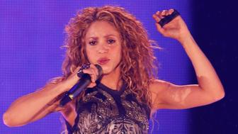 Colombia's singer Shakira performs at Azteca Stadium in Mexico City, Thursday, Oct. 11, 2018. (AP Photo/Marco Ugarte