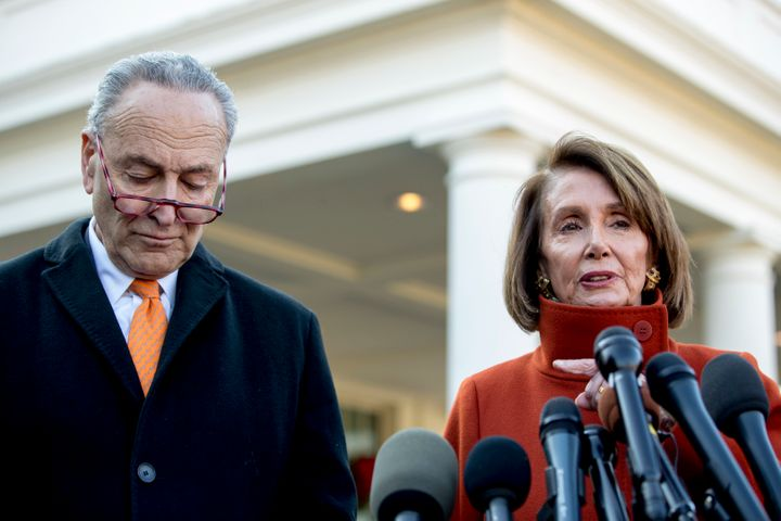 Senate Minority Leader Chuck Schumer (D-N.Y.) with Nancy Pelosi (D-Calif.), the current House minority leader and likely the