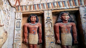 Statues are seen inside inside the newly-discovered tomb of 'Wahtye', which dates from the rule of King Neferirkare Kakai, at the Saqqara area near its necropolis, in Giza, Egypt, December 15, 2018. REUTERS/Mohamed Abd El Ghany