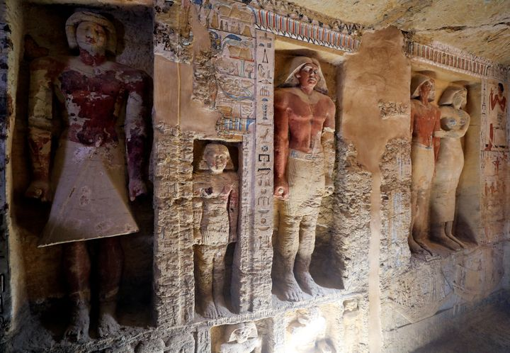 The tomb is 10 metres (33 ft) long, three metres (9.8                ft) wide and just under three metres high.