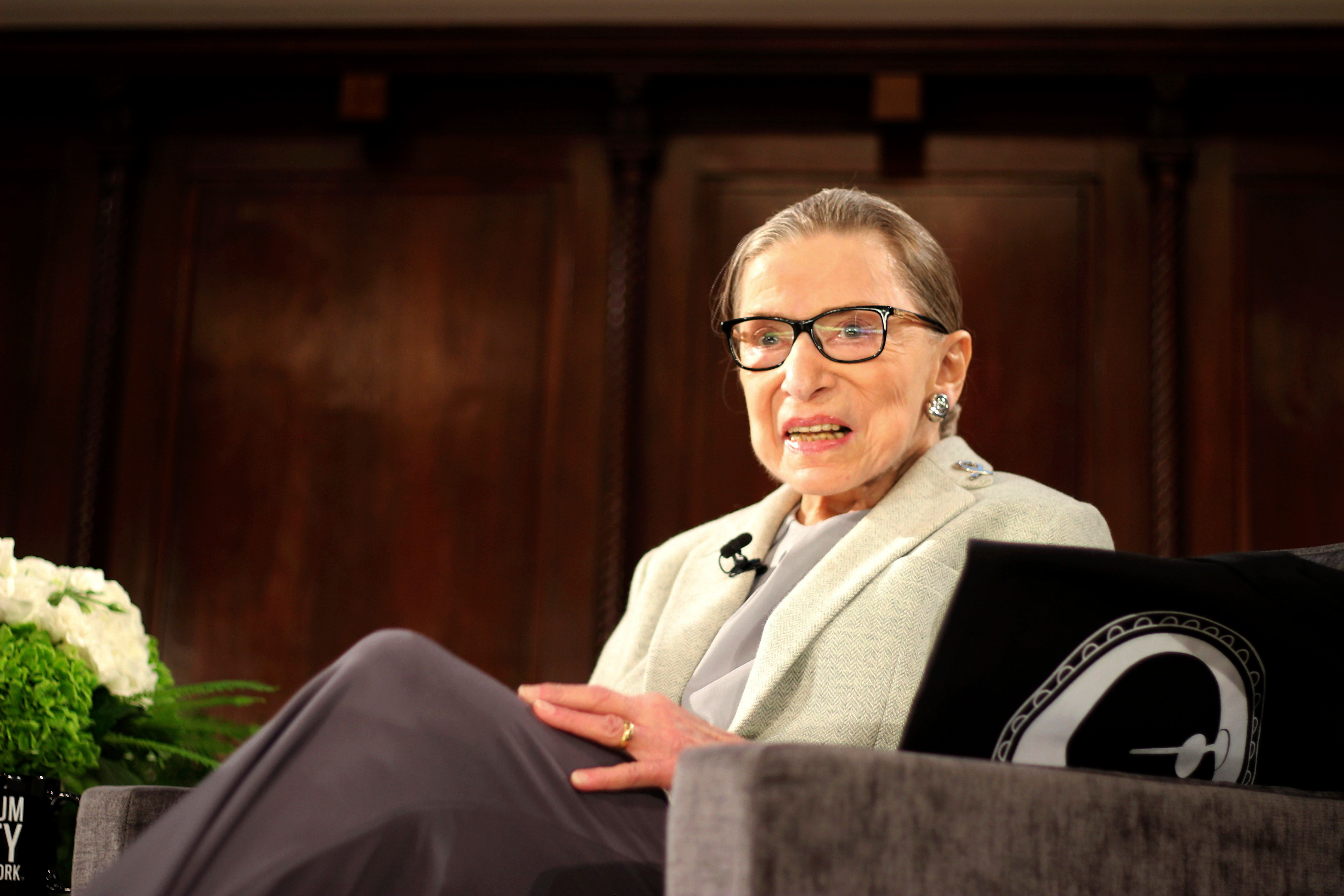 ADDS HELD AT THE NEW YORK ACADEMY OF MEDICINE U.S. Supreme Court Justice Ruth Bader Ginsburg sits onstage as the third speaker of the David Berg Distinguished Speakers Series, during an event organized by the Museum of the City of New York with WNET-TV held at the New York Academy of Medicine Saturday, Dec. 15, 2018, in New York. NPR legal correspondent Nina Totenberg led a question-and-answer session about Ginsburg's quarter century on the Supreme Court, and about her life. (AP Photo/Rebecca Gibian)