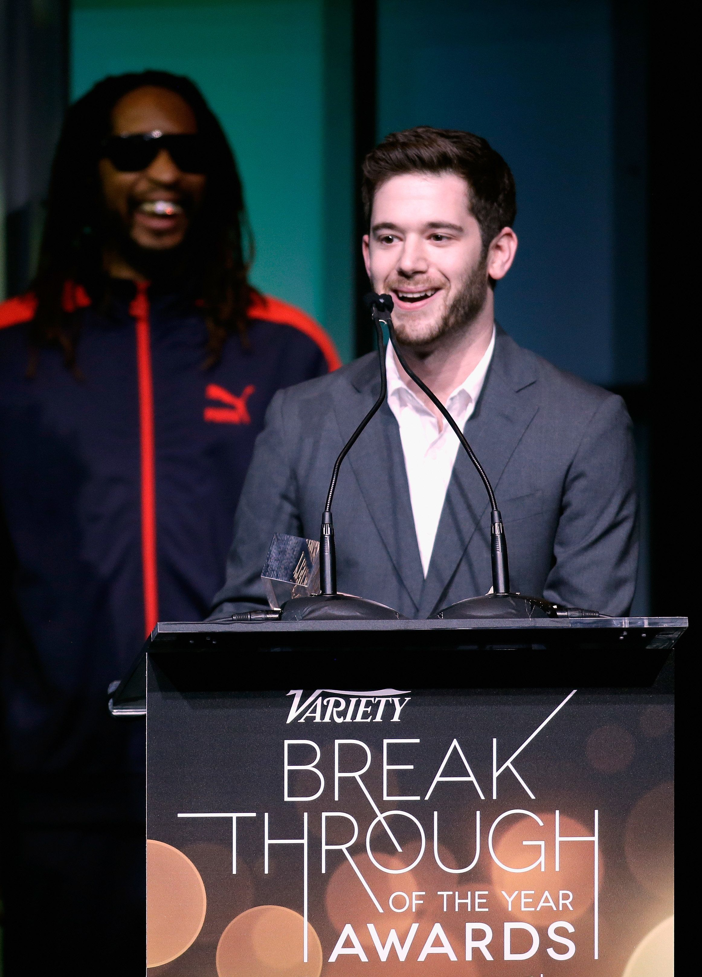 LAS VEGAS, NV - JANUARY 09:  Honoree Colin Kroll (R) accepts the Breakthrough Award for Emerging Technology from rapper Lil Jon onstage at the Variety Breakthrough of the Year Awards during the 2014 International CES at The Las Vegas Hotel & Casino on January 9, 2014 in Las Vegas, Nevada.  (Photo by Isaac Brekken/Getty Images for Variety)