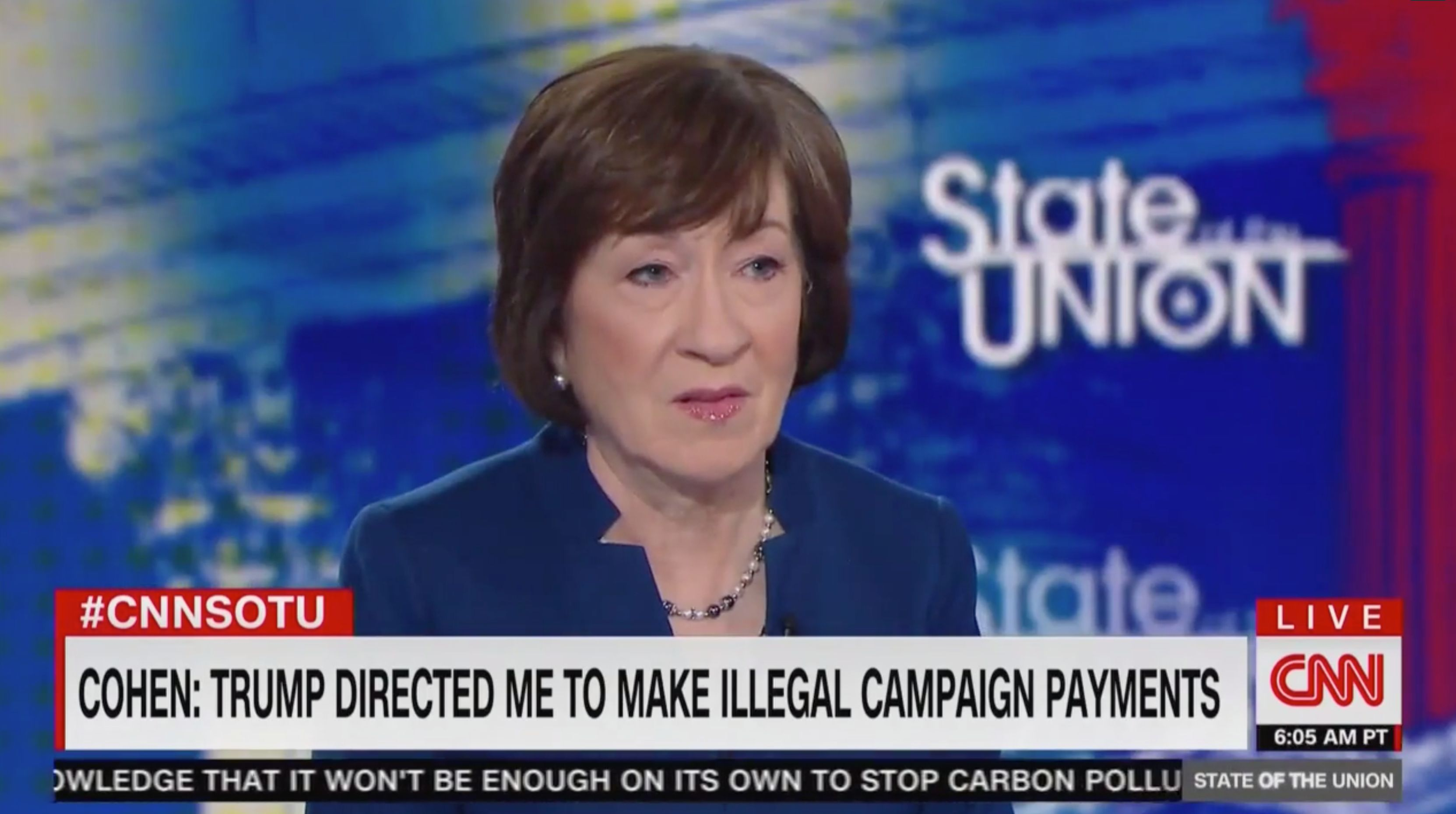 CNN Jake Tapper shuts down Susan Collins on hush payments.