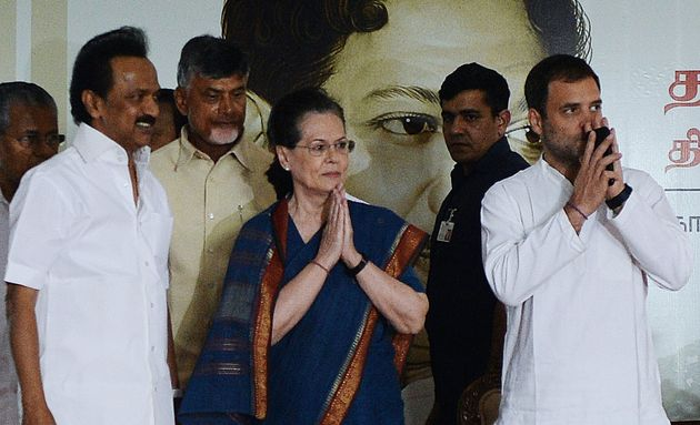 DMK President MK Stalin (left) with Sonia Gandhi and Congress President Rahul Gandhi on