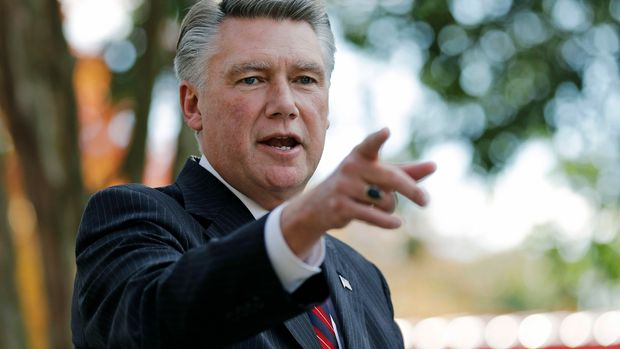 FILE - In this Nov. 7, 2018, file photo, Mark Harris speaks to the media during a news conference in Matthews, N.C. Legislation quickly passed by North Carolina's lawmakers would require new primaries in a still-undecided U.S. House race marred with ballot fraud allegations, potentially replacing the Republican nominee at the center of the disputed race. If the state elections board decides ballot irregularities or other problems cast the true outcome into doubt and force a redo, the legislation would require new primary elections in the 9th Congressional District race. (AP Photo/Chuck Burton, File)