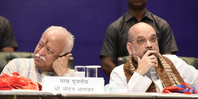 A file photo of RSS chief Mohan Bhagwat (left) with BJP president Amit