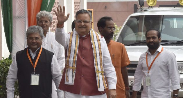 NEW DELHI, INDIA - AUGUST 28: Chief Minister of Chhattisgarh Raman Singh arrives for the BJP Chief Ministers'...