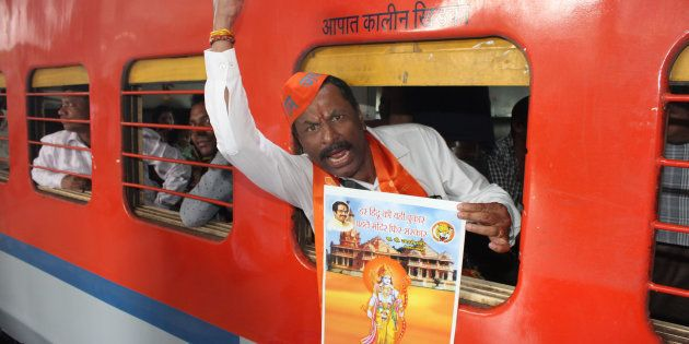 MUMBAI, INDIA NOVEMBER 22: Hundreds of Shiv Sainiks boarded the special train leaving to Ayodhya from...