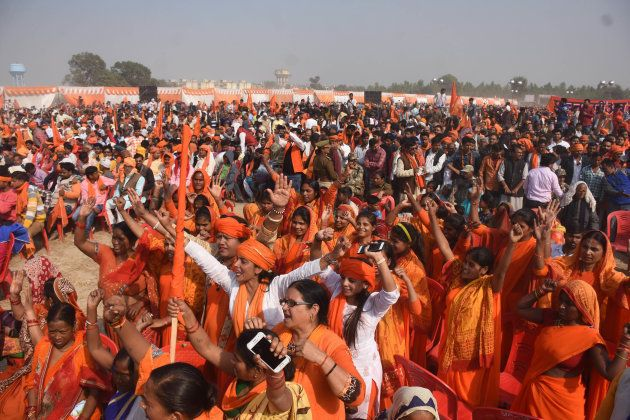 Supporters of Vishwa Hindu Parishad and other Hindu organisations attend the Sabha in