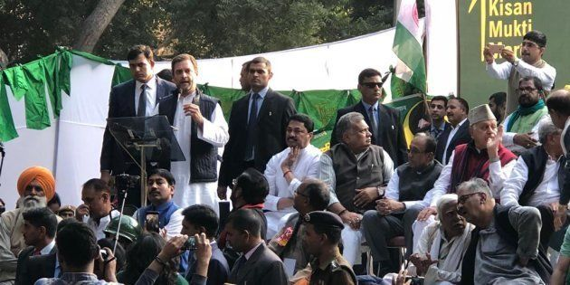 Congress president Rahul Gandhi at the farmers'