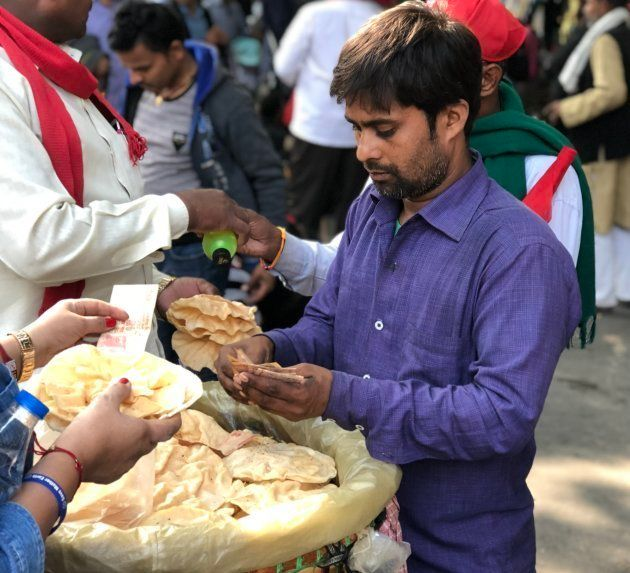 Jitendra Kumar was selling Papads for half the regular rates to the marching
