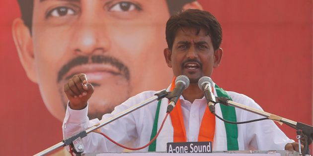 File Photograph of Congress MLA Alpesh Thakor at an address during a rally in Gandhinagar, India, in