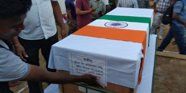 The flag-draped coffins of the policemen killed in Chattisgarh on October 30 2018. (Pavan