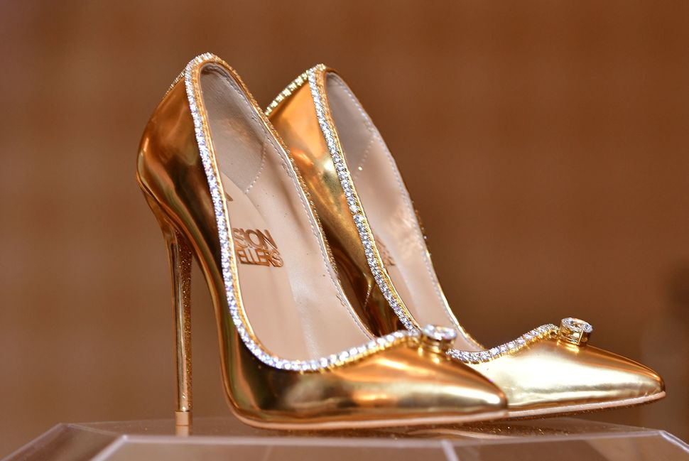 """A pair of shoes worth $17 million on display at Burj Al Arab, Dubai, on Sept. 26, 2018. The """"Passion Diamond"""" shoes feature h"""