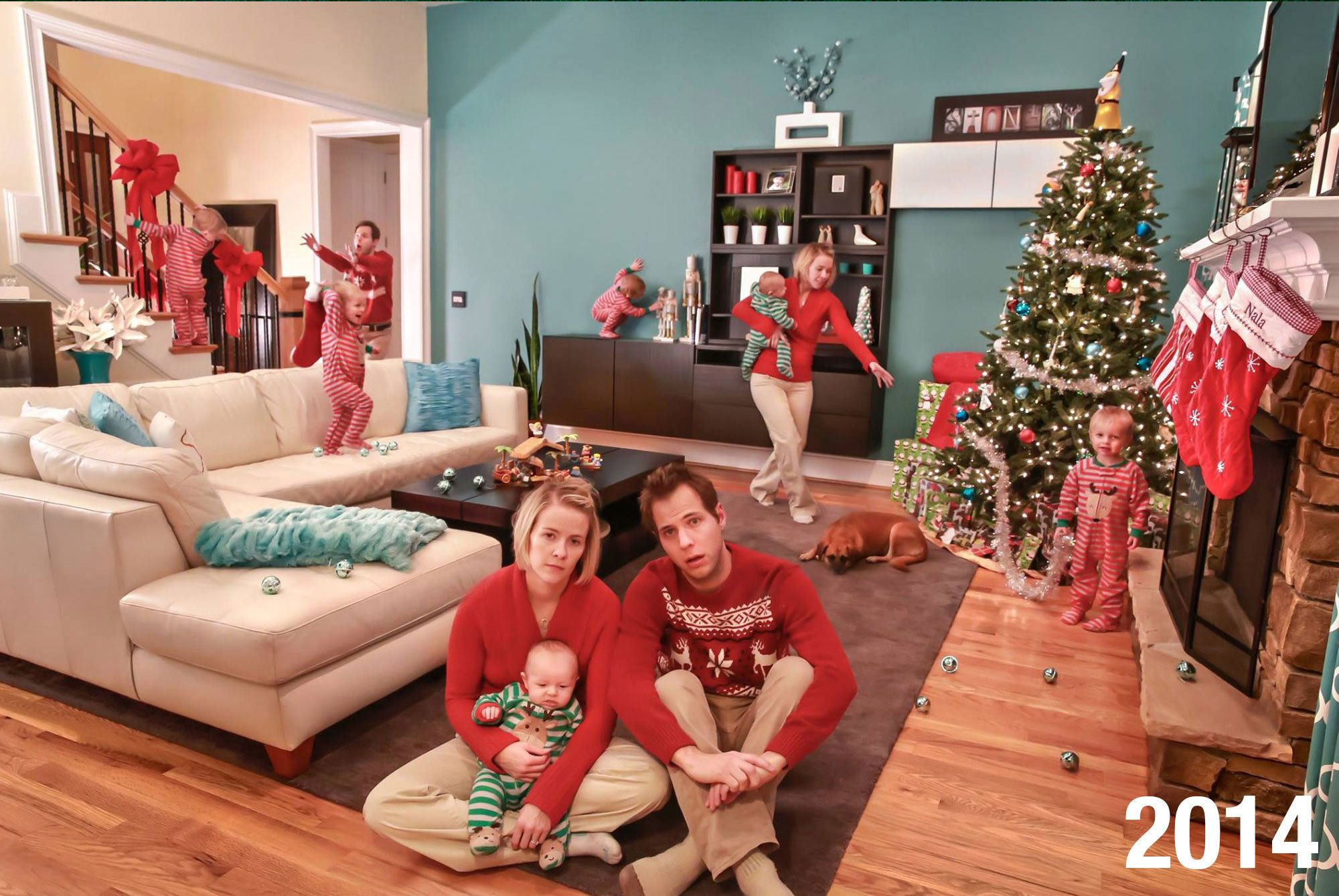 """Jonathan Stanley's family ditched """"traditional"""" Christmas cards to sum up the """"chaos of parenting."""""""