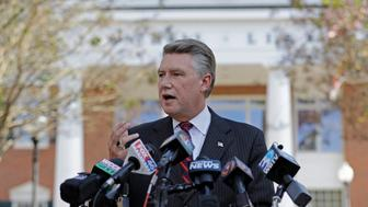 "FILE- In this Nov. 7, 2018, file photo Mark Harris speaks to the media during a news conference in Matthews, N.C. North Carolina election officials agreed Friday, Nov. 30, to hold a public hearing into alleged ""numerous irregularities"" and ""concerted fraudulent activities"" involving traditional mail-in absentee ballots in the 9th Congressional District, apparently in two rural counties. Republican Harris leads Democrat Dan McCready by 905 votes from nearly 283,000 cast in all or parts of eight south-central counties reaching from Charlotte to near Fayetteville. (AP Photo/Chuck Burton, File)"