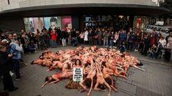 Διαδηλωτές διαμαρτύρονται γυμνοί για τα ζώα στη