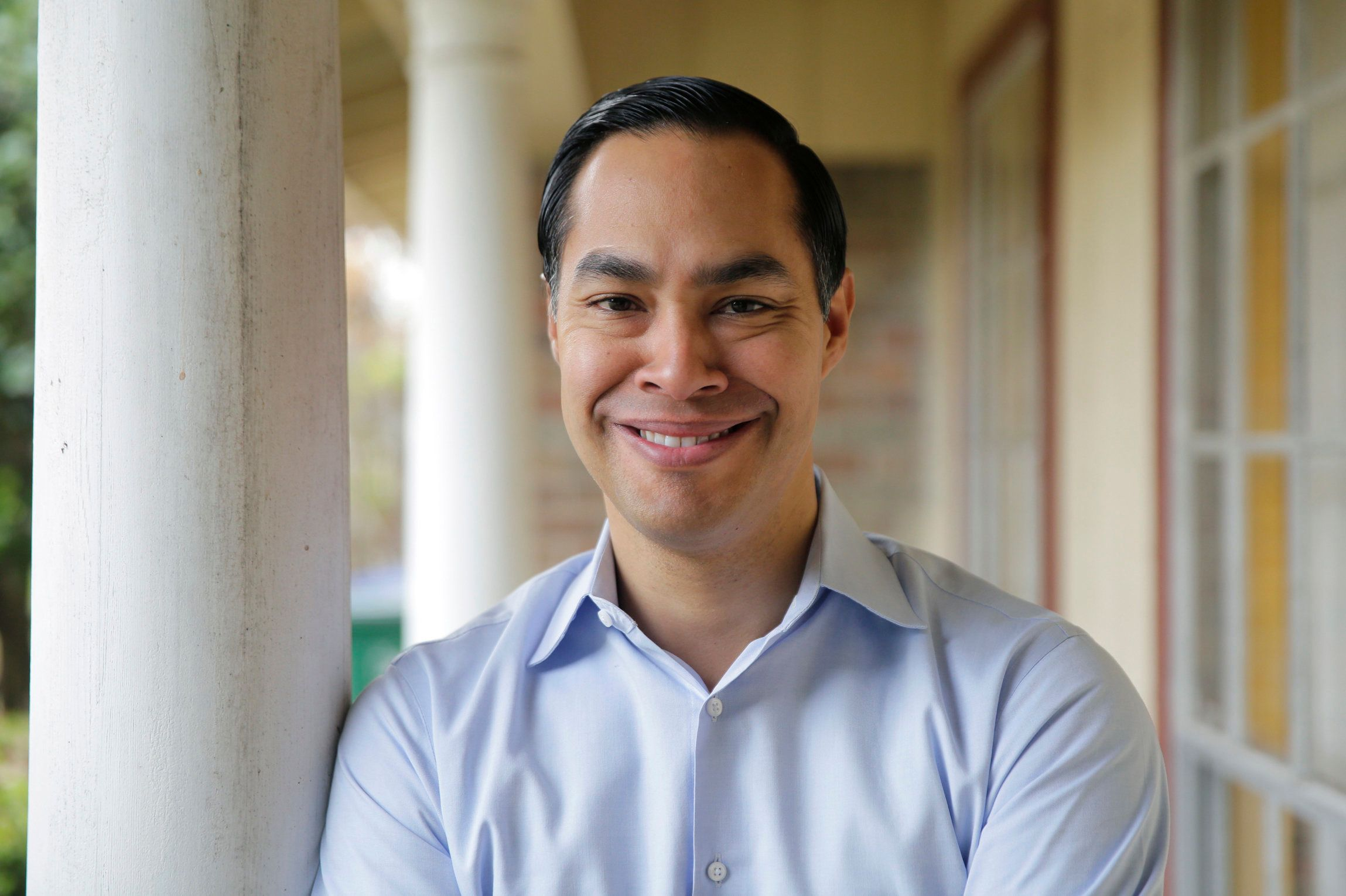 Democrat Julian Castro poses for a photo at his home in San Antonio, Tuesday, Dec. 11, 2018.  Castro says he is launching a presidential exploratory committee ahead of a likely White House run in 2020. Castro was the nation's housing secretary until 2016 and spent five years as mayor of San Antonio. (AP Photo/Eric Gay)