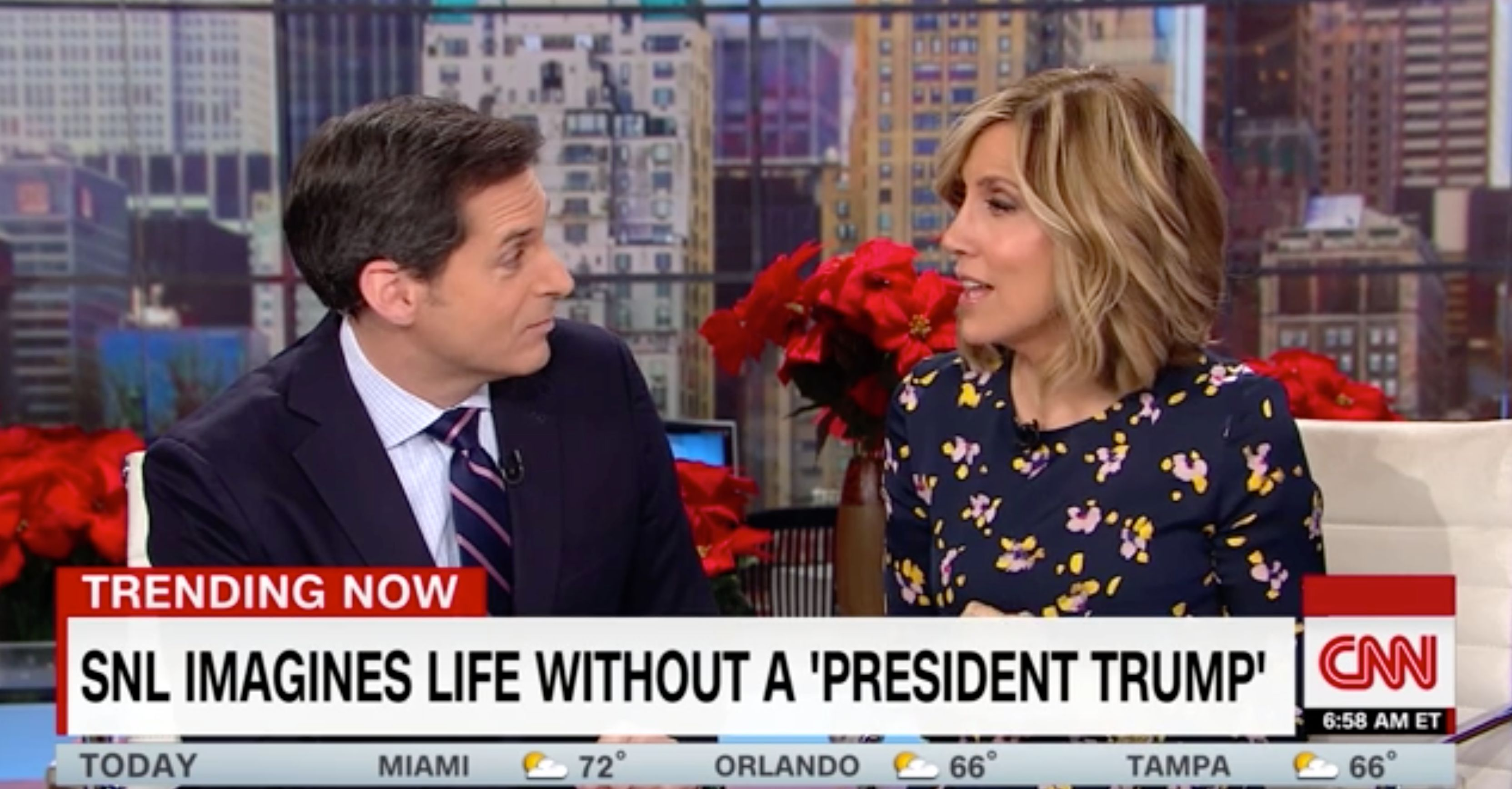 "CNN host counters Trump and says watching ""SNL"" is patriotic"