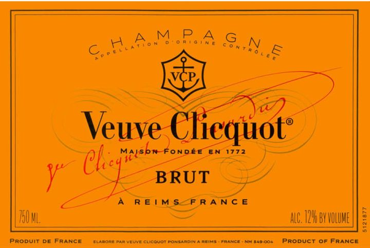 "This Veuve Clicquot Champagne label doesn't display a year, meaning it's non-vintage and is made with a blend of different vintages. It's also labeled ""brut,"" which means it contains 0-12 grams of sugar per liter."