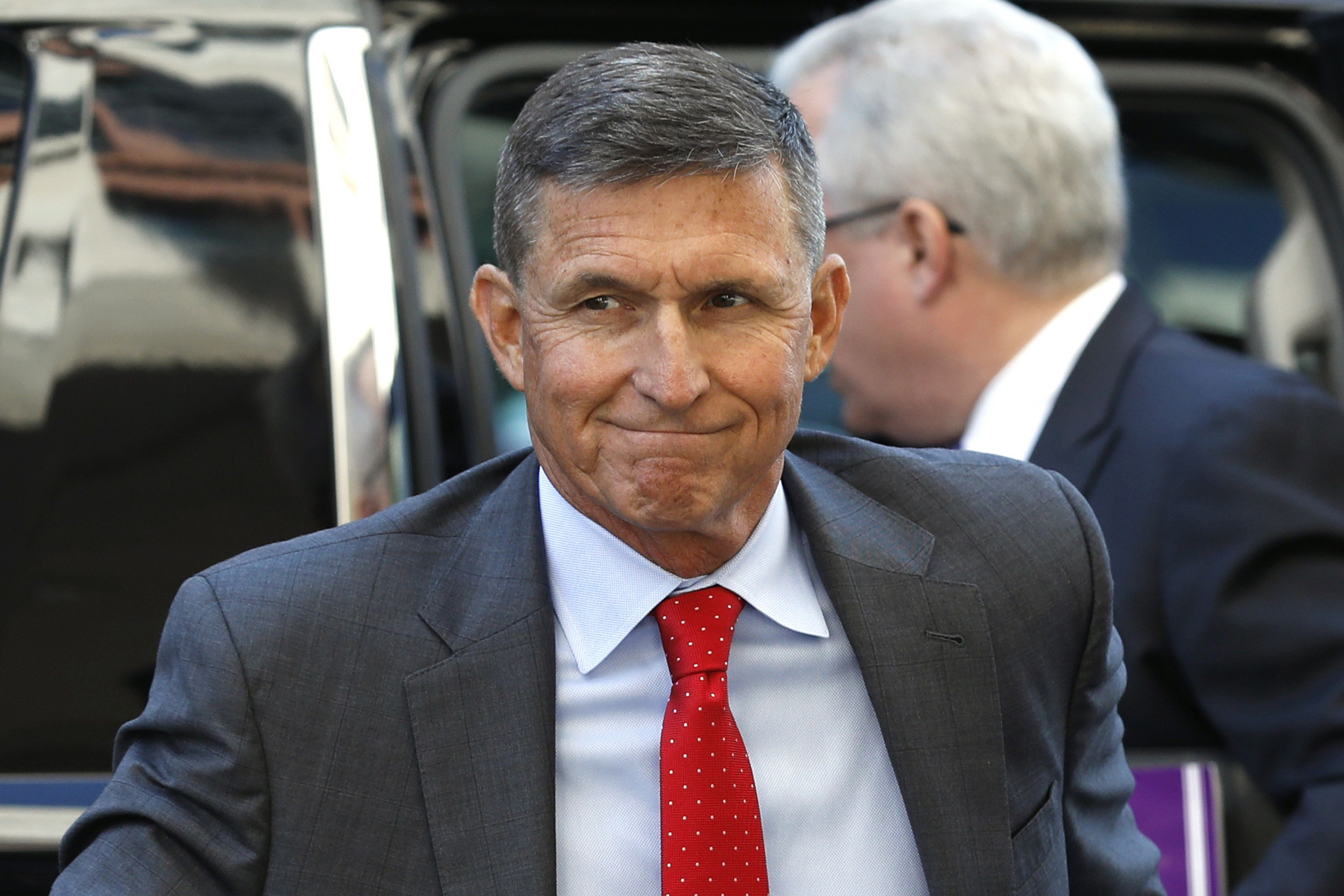 Michael Flynn, former U.S. national security advisor, arrives for a status hearing at federal court in Washington, D.C., U.S., on Tuesday, July 10, 2018. Flynn made his first federal court appearance since pleading guilty last year to lying to federal agents, appearing briefly before a judge who asked to be updated on the status of the case by Aug. 24. Photographer: Yuri Gripas/Bloomberg via Getty Images