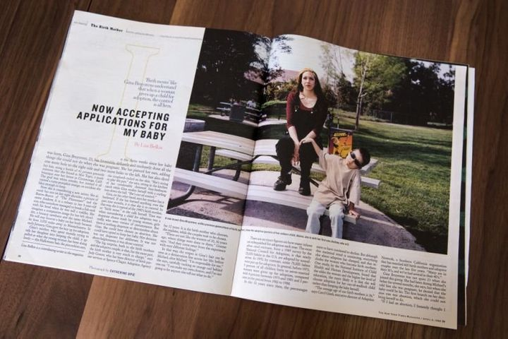 A copy of the original article in the New York Times Magazine written by Lisa Belkin, seen on June 24, 2018, in Providence, R