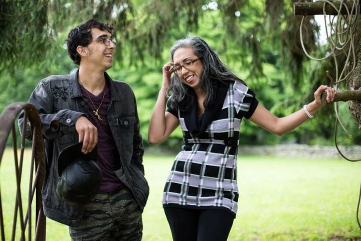 Michael Matt (left) and his biological mother, Gina Aparicio, share a moment exploring Osamequin Farm.