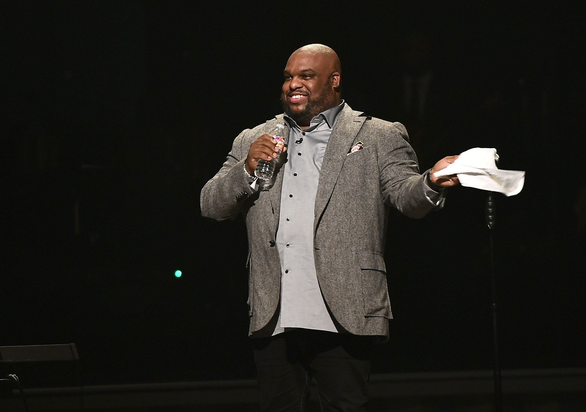 HOUSTON, TX - FEBRUARY 03:  Pastor John Gray speaks onstage during the  BET Presents Super Bowl Gospel attends the BET Presents Super Bowl Gospel Celebration at Lakewood Church on February 3, 2017 in Houston, Texas.  (Photo by Marcus Ingram/Getty Images for BET)