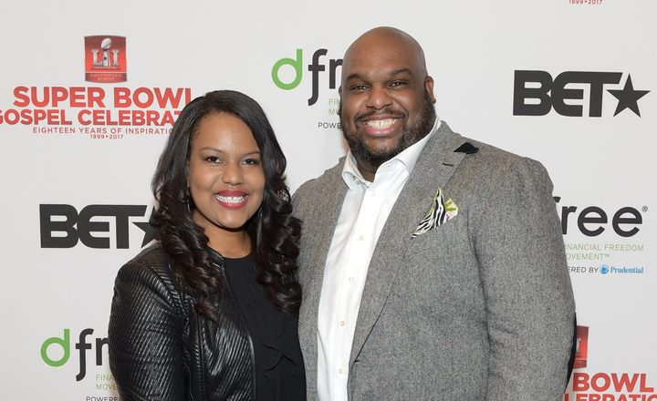 """Aventer Gray and John Gray at Lakewood Church in February 2017. In a Facebook Live video on Dec. 13, he said he """"won't"""