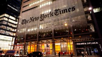 New York, NY, USA - July 11, 2016: Headquarters of The New York Times in night