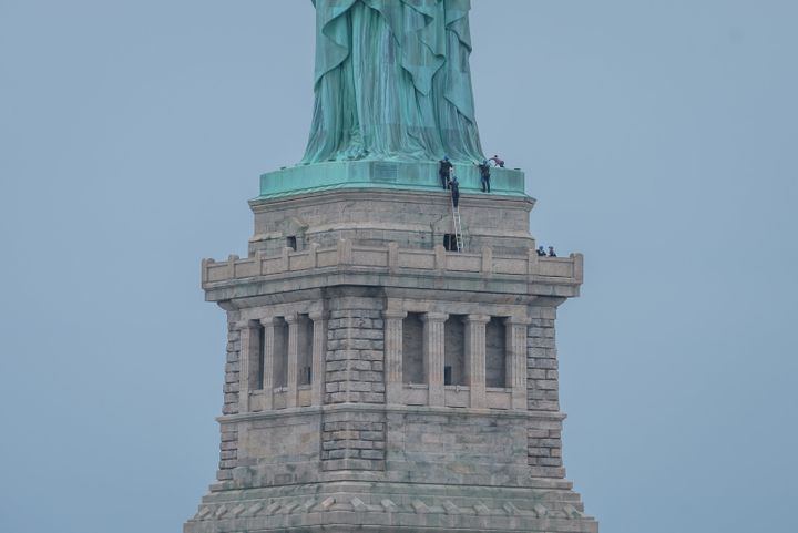 New York City's Liberty Island was evacuated after Okoumu climbed up onto the Statue of Liberty's base on the Fourth of July